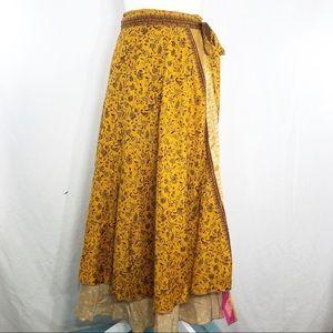 Earthbound 100% Silk Boho Wrap Skirt   K140